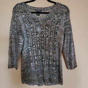 3/30 Lauren Michelle Crochet Cable knit Sweater S
